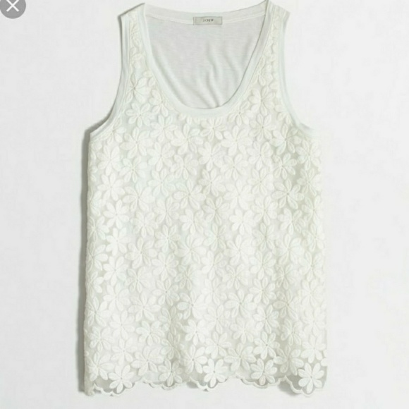 057b7b5cd11995 J. Crew Tops   J Crew Embroidered Lace Front Floral Tank Top   Poshmark